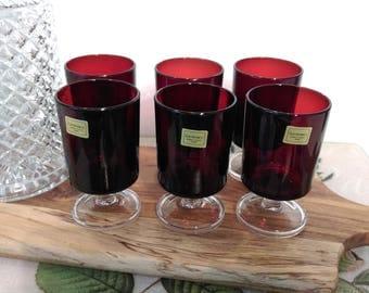 6 French Luminarc Wine Glasses ~ Cavalier Liqueur Glasses ~ Apertif ~ Verrerie D'Arques Ruby Red ~ 1960s Retro Barware