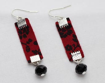 Ribbon earrings red and black