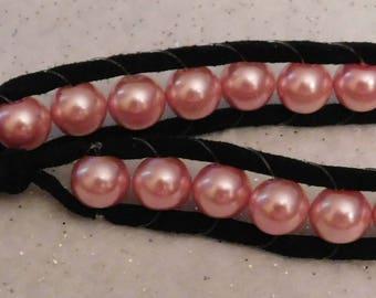 Pink Pearl Leather Wrap Bracelet