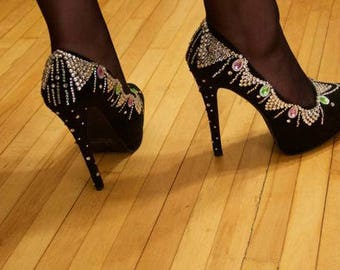 Crystal Rhinestone Heels, Rhinestone heels, Black heels, Size 8, Glamour Prom Wedding Event Homecoming Burlesque Women's shoes, High heels