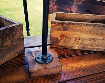Industrial Pipe Paper Towel Holder With Reclaimed Wood Base - Free Shipping