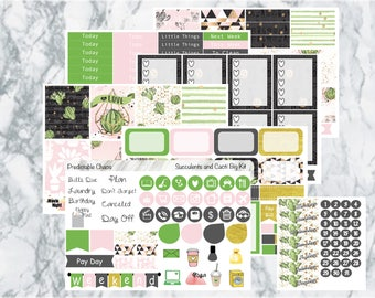 Succulents and Cacti Big Kit, planner stickers