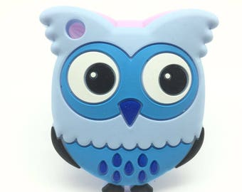 Blue---Silicone Owl Teether, Owl Pendant, Owl Animal Teether, 100% Food Grade Silicone, Sensory Teether, Silicone Teething Toy
