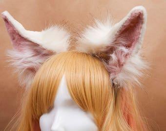 White Fennec Fox Ears Fur Headband