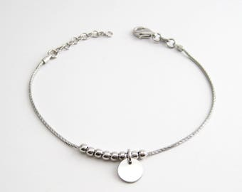 Bracelet round coin beads in Silver 925/1000