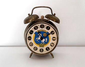 Alarm clock souvenir Ostrava made in former Czechoslovakia. Vintage 1970's