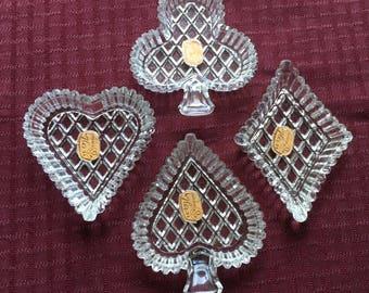 4 Vintage Bohemian Glan Czach Glass Dish Ashtrays Heart Spade Diamond Club Cards