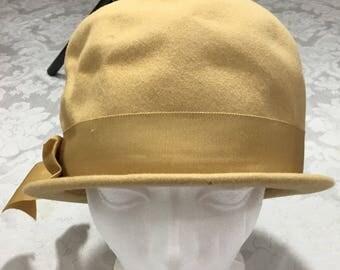 Vintage Womans Merrimac Fur Felt Gold Bucket Hat with Ribbon