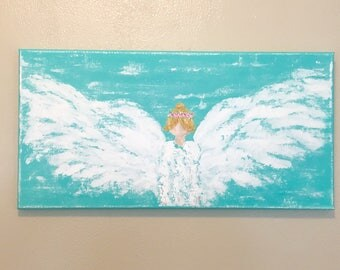Angel Painting, angel art, guardian angel, acrylic painting, spiritual art, inspirational art, angel wings, guardian angel, religious art, n