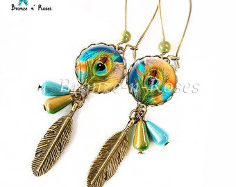 """Peacock feather"" blue and yellow cabochon earrings bronze jewelry"
