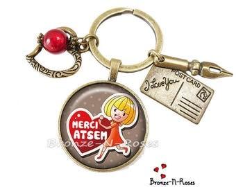 """Porte clés """" Super Atsem """" Bijou cabochon maitresse cadeau enfants école coeur fille"""