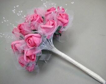 FUCHSIA Rose Buds with Pearls Bouquet Artificial Foam Flower Bush 695FU