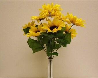 "YELLOW Sunflowers Bush 11 Artificial Silk Flowers 18"" Bouquet 3007YL"