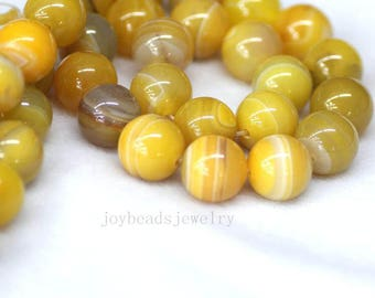 """16"""" inch Smooth Yellow Agate Gemstone Beads 4/6/8/10/12/14mm  Natural Stone Beads Round Spacer Loose Beads For Jewelry DIY Making"""