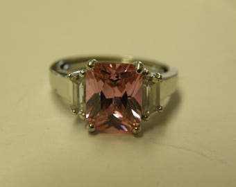 Sterling Silver Pink Gemstone Ring - Size 9 1/2