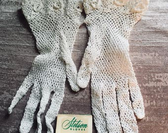Vintage Stetson wedding gloves white one size fits all 100% cotton