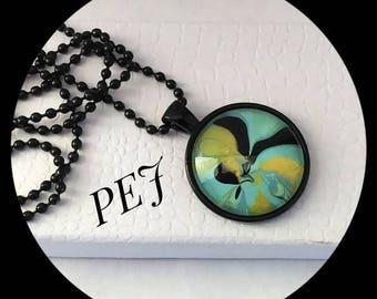 Yellow/black,handpainted,pendant,necklace,giftsforher,watermarble