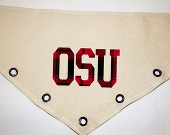 Plaid OSU Ohio hand cut grommet Canvas dog pet Bandana  tie-front or over collar!  XS S M L XL  Customize how you Want!