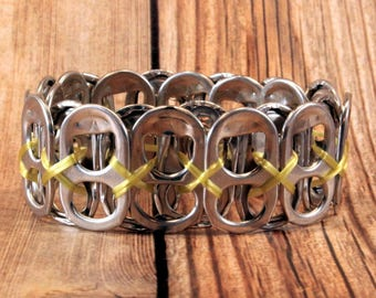 Upcycled Soda Can Tab Bracelet - Yellow