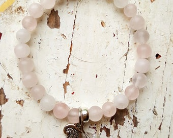 The unconditional love, Matte Rose Quartz and sterling silver bracelet