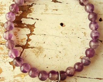 Amethyst and Sterling Silver Protection Bracelet