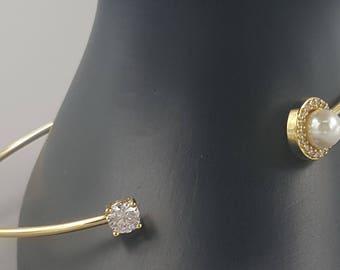 Swarovski  crystal & Faux Pearl Bangle Bracelet
