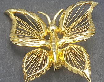 Vintage Gold Butterfly Brooch