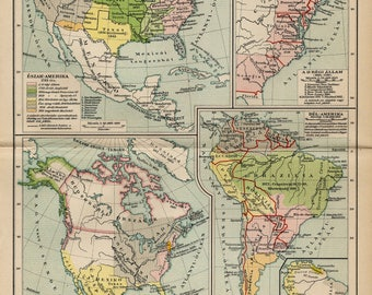 Antique map of the colonization and history of America from 1893