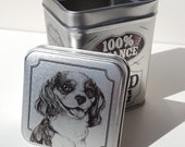 Cavalier King Charles Spaniel Metal Dog Training Treat Container