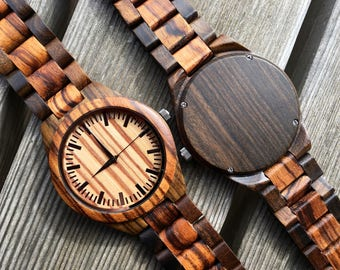 Engraved father gift, Boyfriend Gifts, Groomsmen gift, Wood Watch for Men, Engraved Zebrawood + Ebony Wood Watch Bamboo Watch HB41