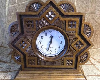 Grandfather wooden clock carved from wood retro style #d180