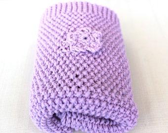 Blanket Newborn Nursery Purple. Pastel purple cover with flowers created in superwash soft merino wool.