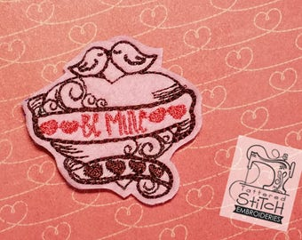 Be Mine Heart Feltie - Machine Embroidery Design. 4x4 hoop Instant Download. Felties. Valentine's Day. Heart Feltie. Love Birds Feltie