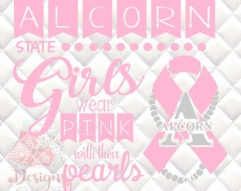 Alcorn State Pink and Pearls - Breast Cancer Awareness - SVG, Silhouette studio and png bundle