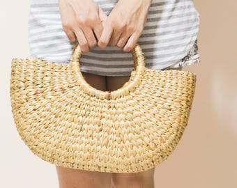 Straw bag Weaving seagrass top handle bag, handmade bag , boho bag, straw purse from Thailand : size M