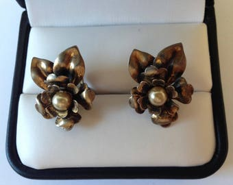 Vintage Sterling Silver and Pearl Flower Screw Back Earrings, Gold Colored