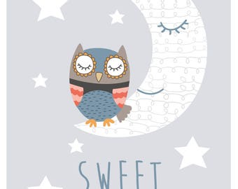 Sweet dreams Owl A4 children's print