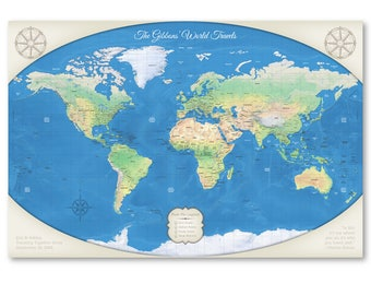 10th Anniversary Gift For Him Relief World Map Detailed 24x36 or 30x40 Labeled World Push Pin Map Mounting Options Free Shipping