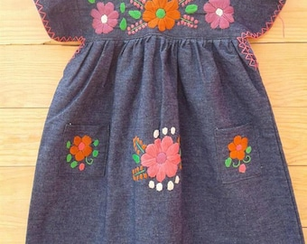 Mexican hand Embroidered Denim Dress Size  4T/