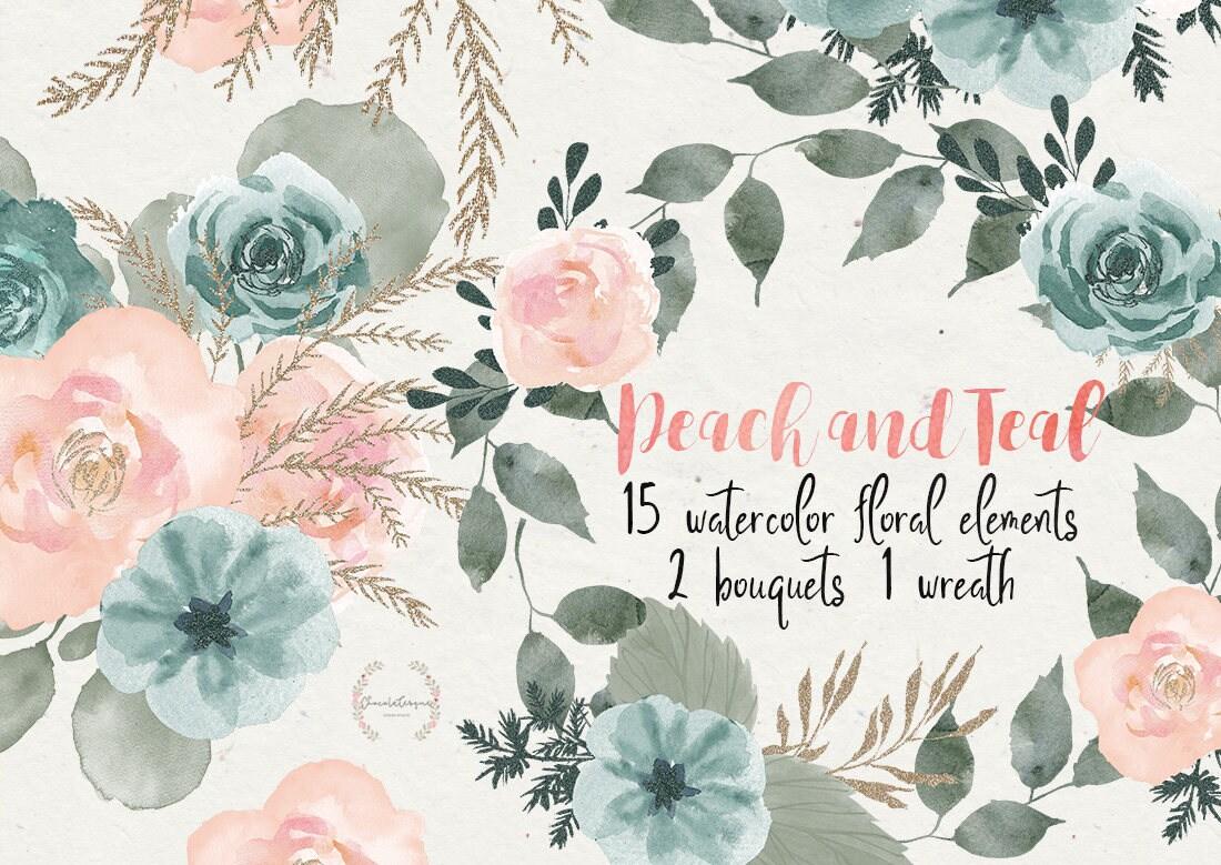 Peach teal clipart peach flowers floral clipart watercolor