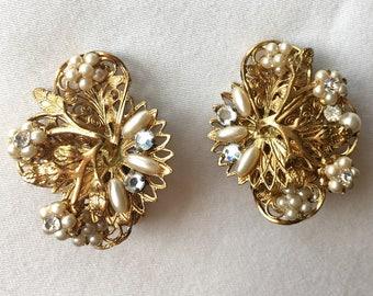 Gold, pearl and rhinestone clip earrings