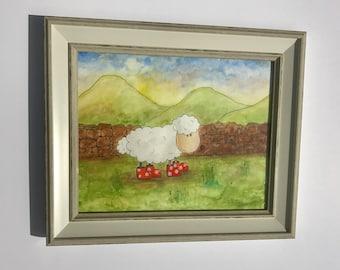 Sheep in Scotland watercolour