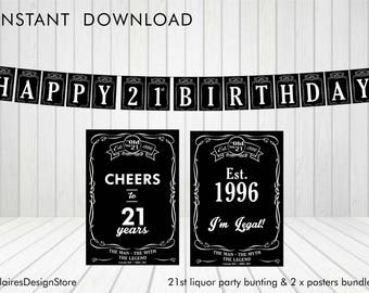 21st Liquor Party Bunting and Posters *Instant Download*