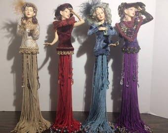 Victorian Tassel Dolls, Vintage Dolls, Tassel Dolls