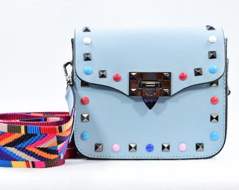 Leather Handbag / Guitar Strap / Studded / Festival Fashion / Blue Purse / Blue Bag / Italian Leather / Leather Purse / Leather Clutch