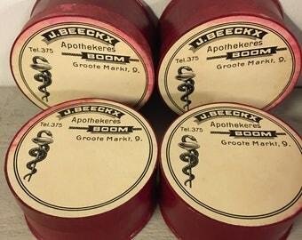 Set of 4 Belgium vintage round cardboard pharmacy - apothecary box. Red. 1950s. button box. pharmacy box. jewelry box. Ephemera box