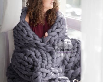 Gray Chunky Blanket - Bulky Blanket - Merino Blanket - Giant Blanket - Throw Blanket - Arm Knitting Blanket - Thick Blanket - 21 micron
