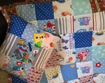 """Baby quilt blanket """"Tipsy Owl"""" with matching pillow"""