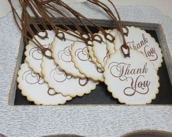 Thank you tags, 12 thank you tags, cardstock tags, tags, ready to ship tags, white and brown tags, hand punched and stamped tags