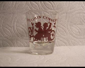 Shot Glass Spilliken Corners Magic Mountain Train Stop Circa 1979 Craft Store Souvenir 42